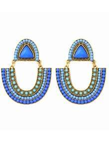 Blue Beaded Boho Earrings