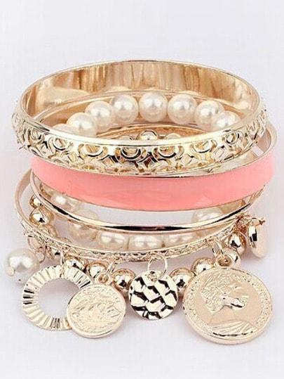 Armreifen mit Perle und Münzen besetzt -gold