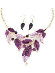 Purple Leaves Jewelry Set