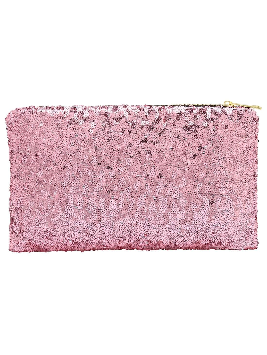 Pink Zipper Sequined Clutch Bag