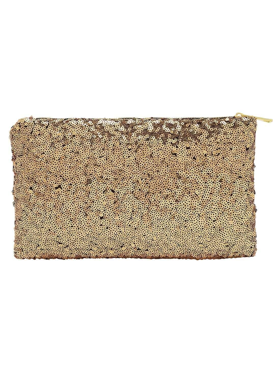 Gold Zipper Sequined Clutch Bag
