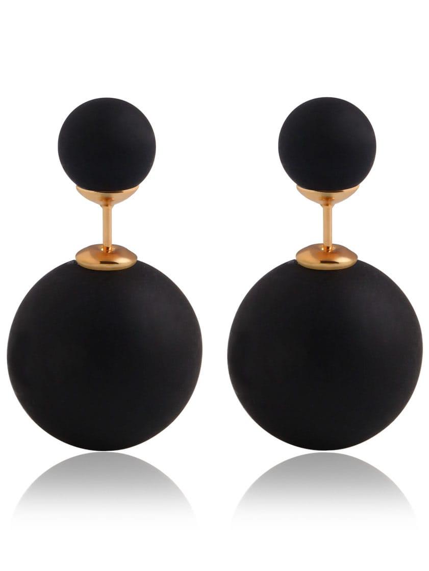 Black Bead Stud Earrings