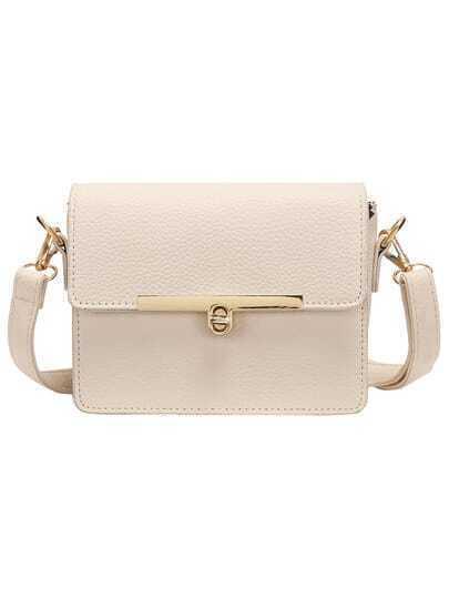 Beige Metal Buckle PU Shoulder Bag