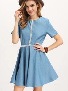 Blue Short Sleeve Hollow Insert Flare Dress