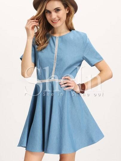 Blue Short Sleeve Hollow Insert Flare Dress