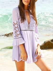 Purple Crochet Bell Sleeve Beach Dress