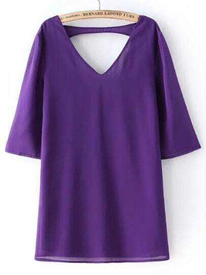 Purple V Neck Backless Loose Dress