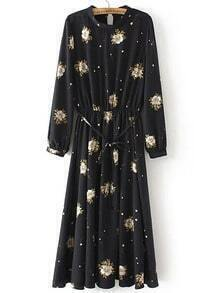 Black Crew Neck Floral Tie Waist Dress