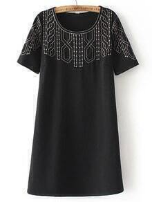 Black Crew Neck Embroidered A Line Dress
