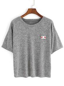 Grey Crew Neck Short Sleeve Crop T-Shirt