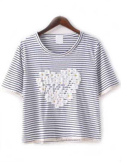 Blue White Crew Neck Striped Heart T-Shirt