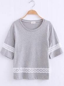 Grey Round Neck Hollow Crop T-Shirt