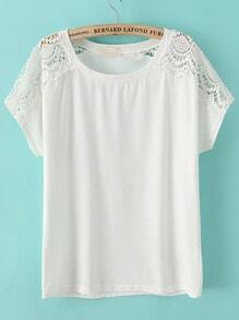 White Round Neck Hollow Lace T-Shirt