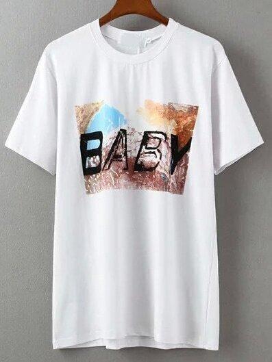 White Crew Neck BABY Print T-Shirt