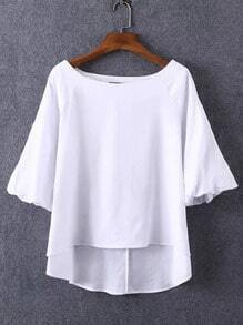 White Boat Neck Dip Hem Blouse