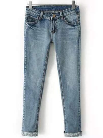 Blue Pockets Slim Denim Pant