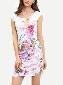 Beige Cap Sleeve Floral Print Sheath Dress