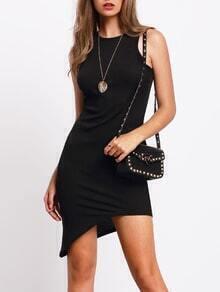 Black Sleeveless Irregular Hem Sheath Dress