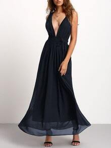 Dark Grey Deep V Neck Pleated Tie-Waist Strap Maxi Dress
