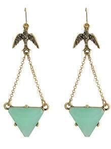 Green Triangle GemstoneDrop Earrings