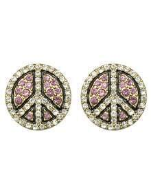 Pink Round Fancy Stud Earrings