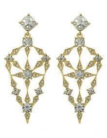 Gold Long Hanging Stud Earrings