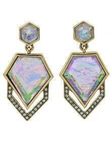Big Colorful Gemstone Drop Earrings
