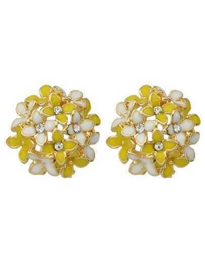 Yellow Flower Shape Stud Earrings