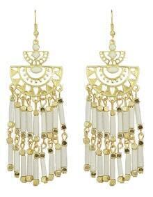 Long Beige Bead Drop Earrings