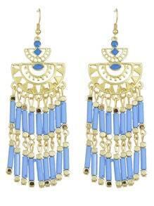 Long Blue Bead Drop Earrings