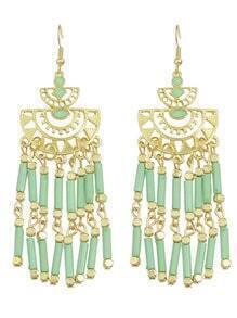Long Green Bead Drop Earrings
