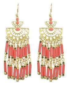 Long Red Bead Drop Earrings