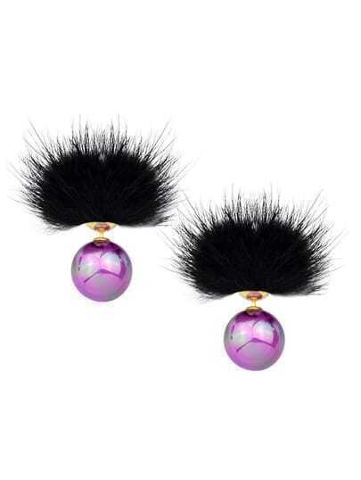 Purple Cute Ball Stud Earrings
