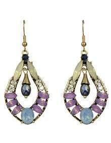 Purple Big Dangle Drop Earrings