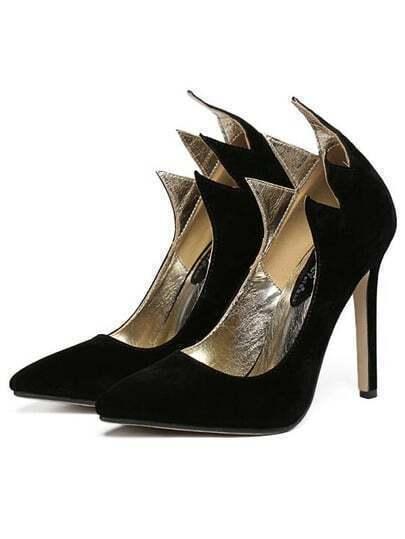 Black Wave Edge Pointy Stiletto Heels