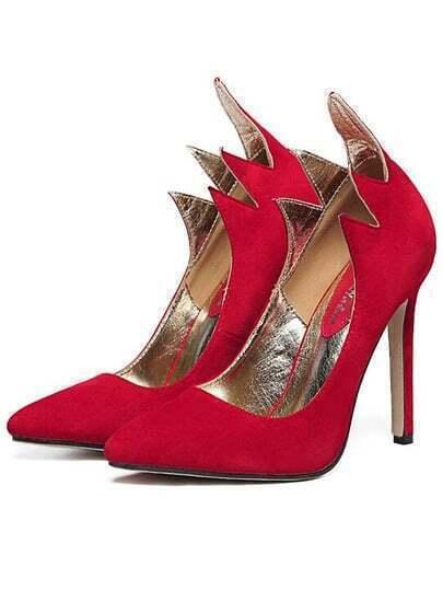 Red Wave Edge Pointy Stiletto Heels