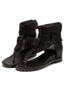 Black Flip Buckle Strap Sandals