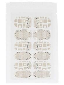 White Geometric Pattern Nail Sticker