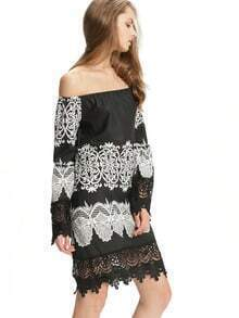 Black White Bell Sleeve Lace Dress