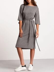 Grey Crew Neck Tie Waist Dress