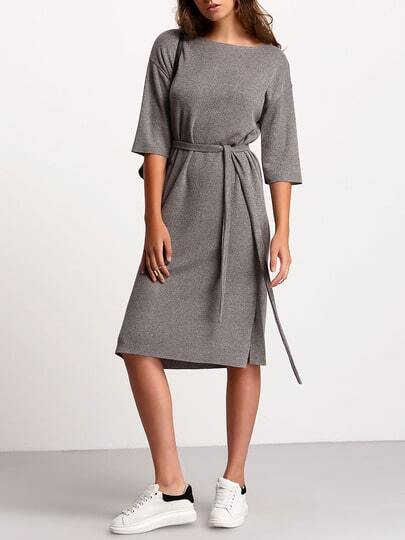 Crew Neck Tie Waist Dress