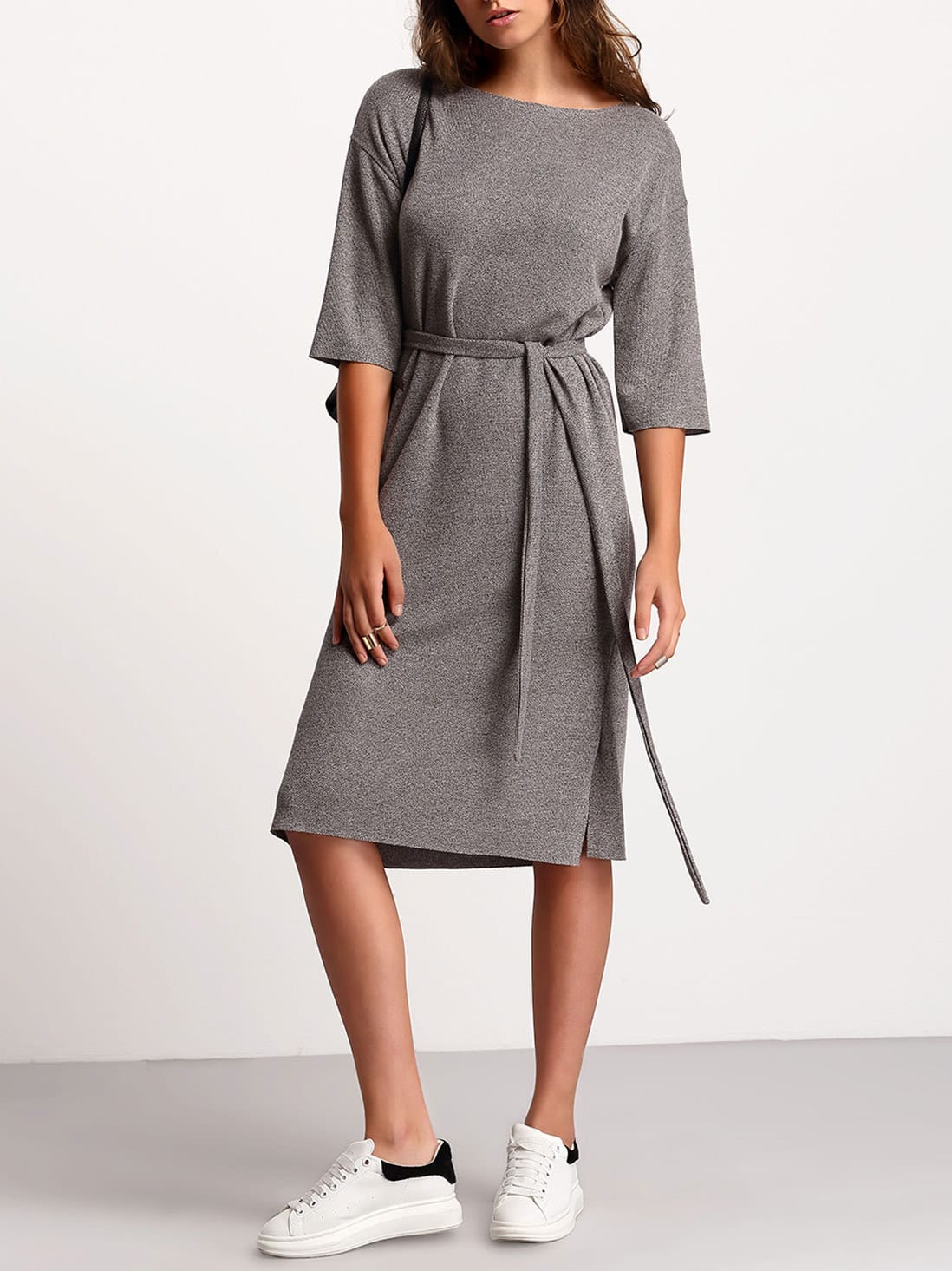 Grey Crew Neck Tie Waist DressGrey Crew Neck Tie Waist Dress<br><br>color: Grey<br>size: one-size