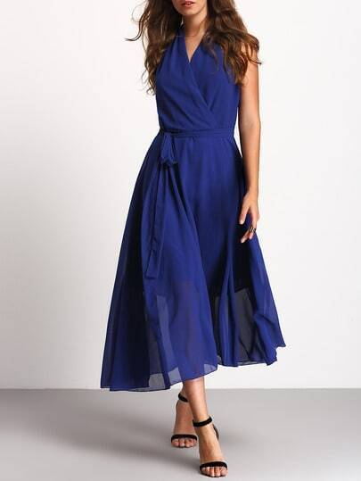 Deep-plunge Neck Wrap Front Dress With Tie Waist