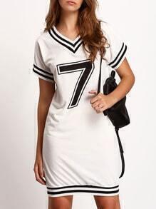 White V Neck 7 Print Striped Dress