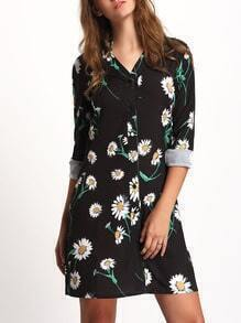 Black Stand Collar Floral Shirt Dress