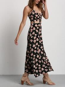 Black Spaghetti Strap Midriff Floral Dress