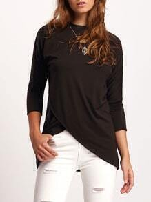 Black Crew Neck Modal Loose T-Shirt