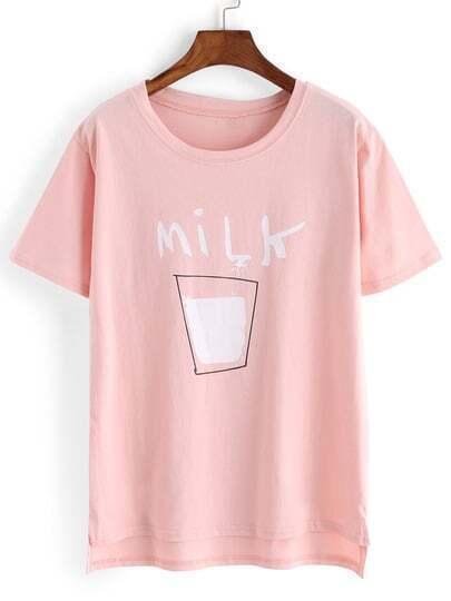 Розовая асимметричная футболка с текстовым принтом