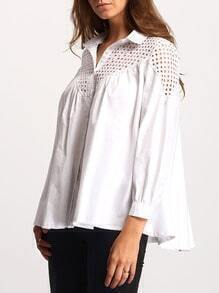 White Lapel Hollow Loose Blouse