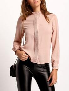 Pink Frill Neck Long Sleeve Slim Blouse